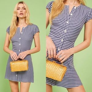 💕NWT REFORMATION Vikki Blue Gingham Dress
